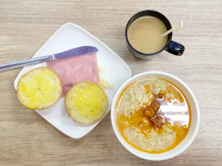 Spicy meat noodle with toast, ham and egg, and coffee!