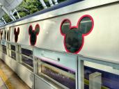Mickey Mouse train taking us to Hong Kong Disneyland!