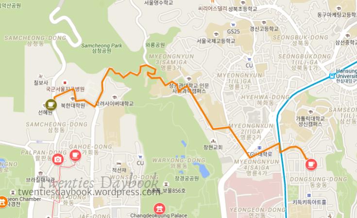 samcheongdong to and here walking route_twenties daybook